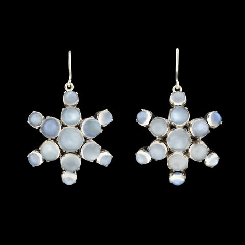 Victorian Sterling Cabochon Moonstone Cluster Earrings