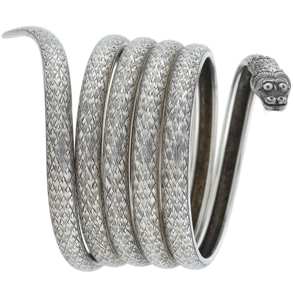 Retro Silver Etched Coiled Snake Bracelet