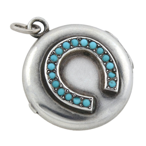 Victorian Sterling Silver Faux Turquoise Horseshoe Locket