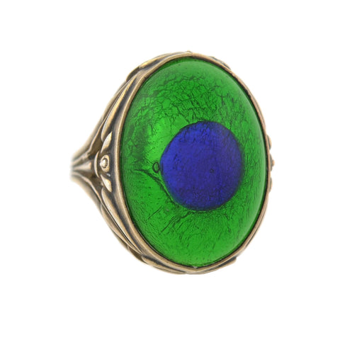 "Arts & Crafts Gilded Sterling Glass ""Peacock Eye"" Ring"