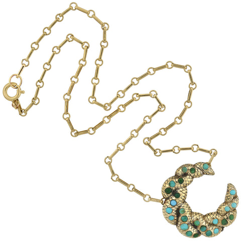 Victorian Sterling Gilt Turquoise Crescent Pendant Necklace 16""