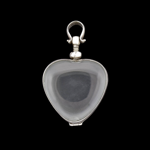Victorian Sterling Rock Crystal Double-Sided Heart Locket Pendant