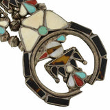 Vintage American Indian Huge Silver Inlaid Thunderbird Necklace
