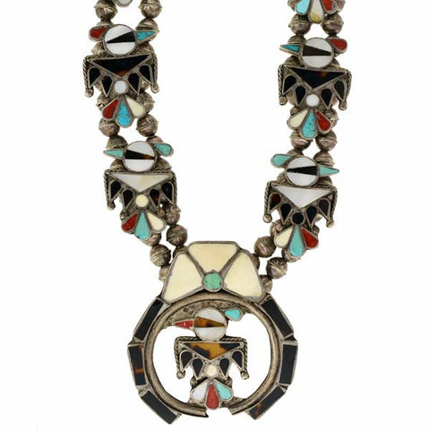 Vintage Native American Huge Silver Inlaid Thunderbird Necklace