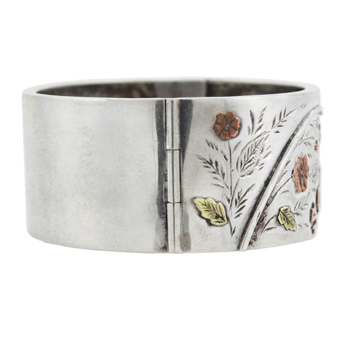 "Victorian Sterling/9kt Mixed Metals ""Souvenir"" Floral Bangle Bracelet"