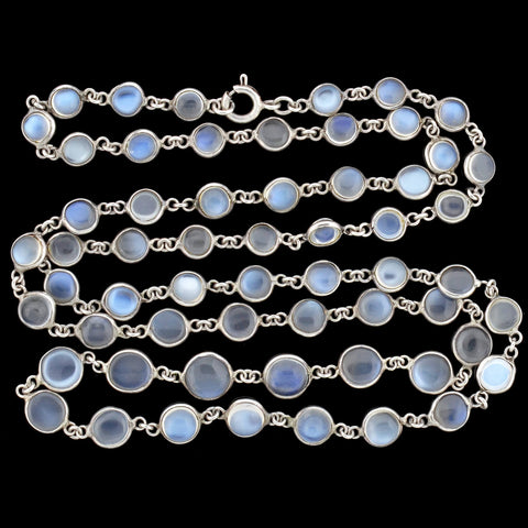 Art Nouveau Sterling Blue Moonstone Link Necklace 25""