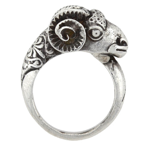 Estate Sterling Silver Ram's Head Ring