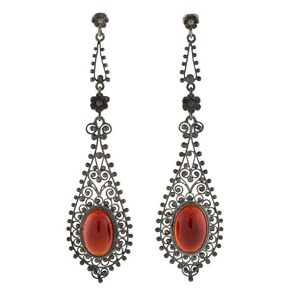 Art Deco Long Italian Silver & Carnelian Filigree Earrings
