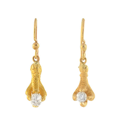 Victorian 14kt Diamond Claw Conversion Earrings