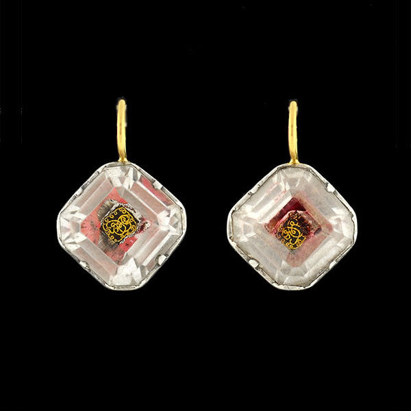 Early Georgian Stuart Crystal 14kt & Sterling Foil Back Earrings
