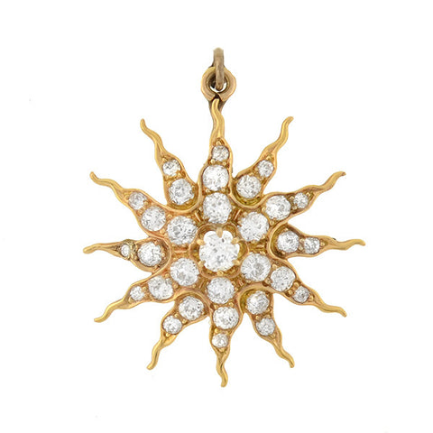 Victorian 18kt Mine Cut Diamond Sunburst Pendant 2.50ctw