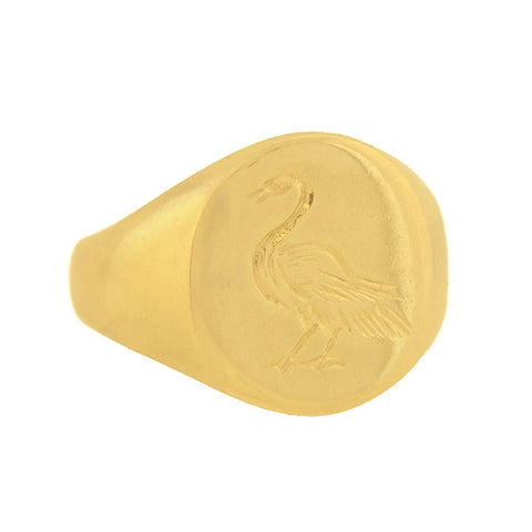 "Estate 9kt ""Harmony"" Carved Swan Signet Ring"