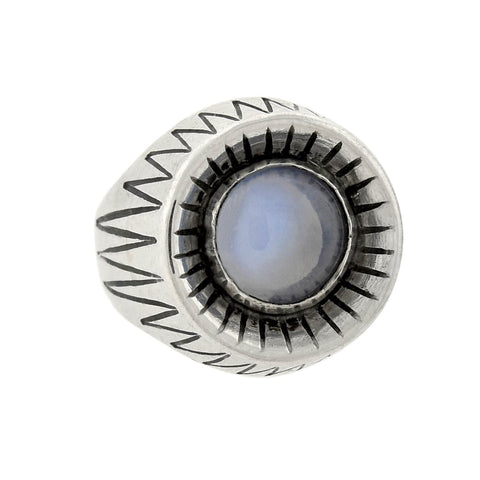 Vintage Modernist Swedish Sterling Silver Moonstone Ring
