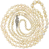 Retro Swedish Cultured Pearl Bead Necklace with 18kt Diamond Clasp 39.5