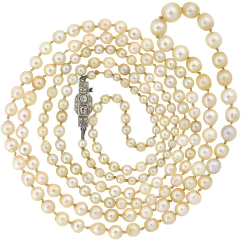 Retro Swedish Cultured Pearl Bead Necklace with 18kt Diamond Clasp 39.5""