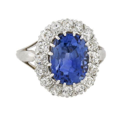 Art Deco Swedish Platinum 5.10ct Natural Ceylon Sapphire + Diamond Cluster Ring