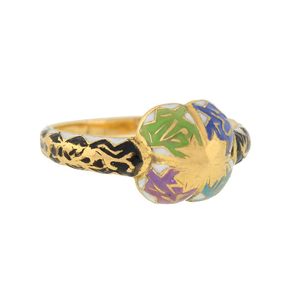 Victorian 18kt Colorful Swiss Enamel Ring