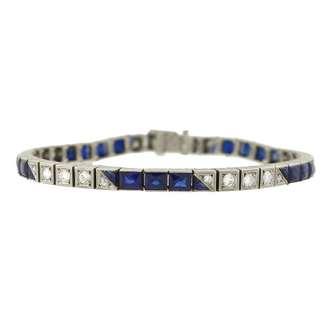 Art Deco Platinum Diamond & Synth. French Cut Sapphire Line Bracelet