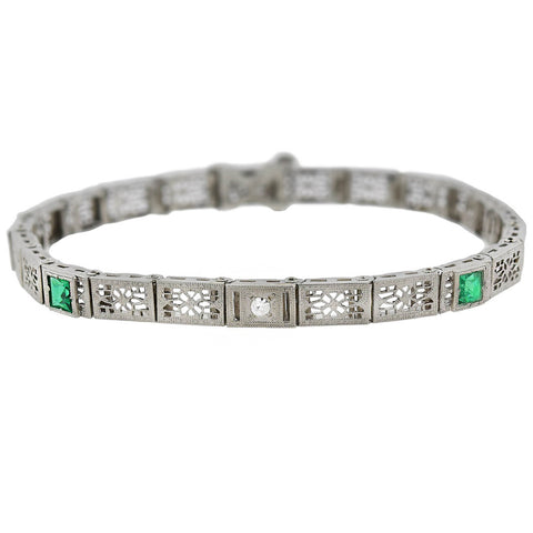Art Deco 10kt Diamond + Synthetic Emerald Filigree Box Link Bracelet