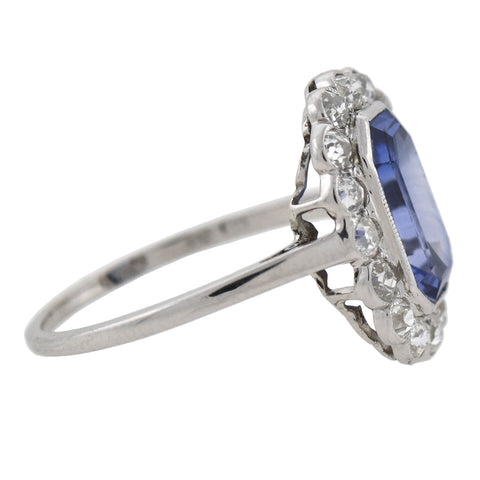 Art Deco 14kt Synthetic Sapphire + Diamond Cluster Ring 2.25ct center