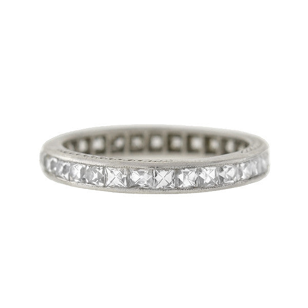 TIFFANY & Co. Art Deco Platinum French Cut Diamond Eternity Band 1.75ctw