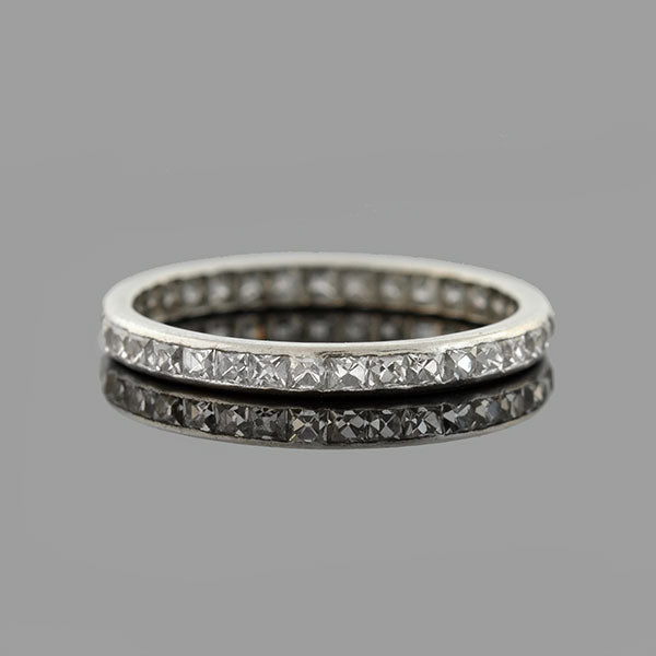 TIFFANY & Co. Art Deco Platinum French Cut Diamond Eternity Band 1.40ctw