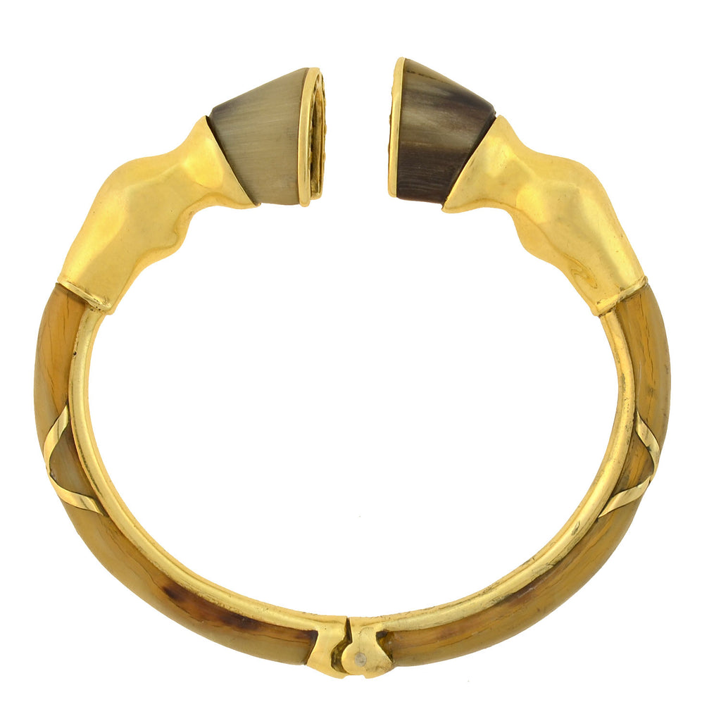 DONALD CLAFLIN for TIFFANY Vintage Rare 18kt Horn Horse Leg Bangle Bracelet