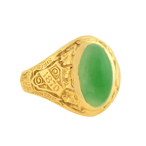 TIFFANY & CO. Art Deco 14kt Jade Hunter College 1928 Class Ring