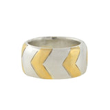 TIFFANY & CO. Estate 18kt & Sterling Wide Chevron Band