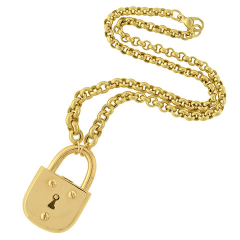 TIFFANY & CO. Estate Heavy 18kt Gold Padlock with Chain