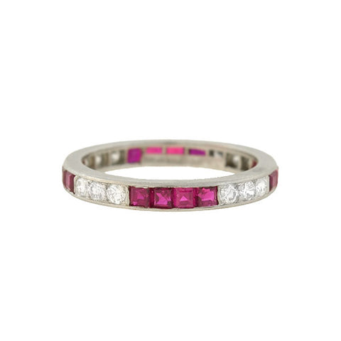 TIFFANY & CO. Late Art Deco Platinum Diamond Ruby Eternity Band