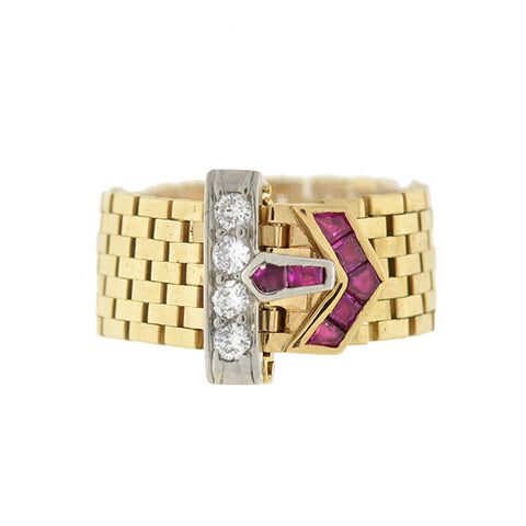 TIFFANY Retro 14kt Ruby & Diamond Adjustable Buckle Ring