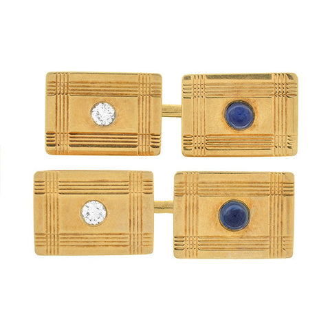 TIFFANY & CO Art Deco 14kt Diamond & Sapphire Cufflinks