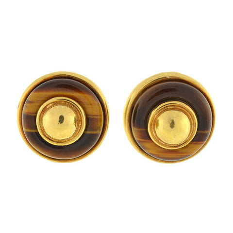 TIFFANY & CO. 18kt & Tiger's Eye Clip Earrings