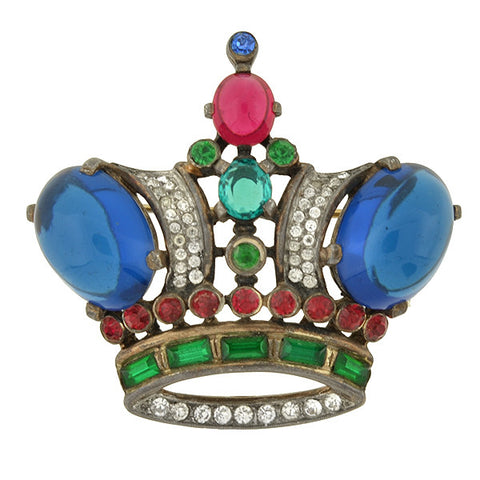 "TRIFARI Retro Sterling Gilt & Jeweled ""Jelly Belly"" Crown Pin"