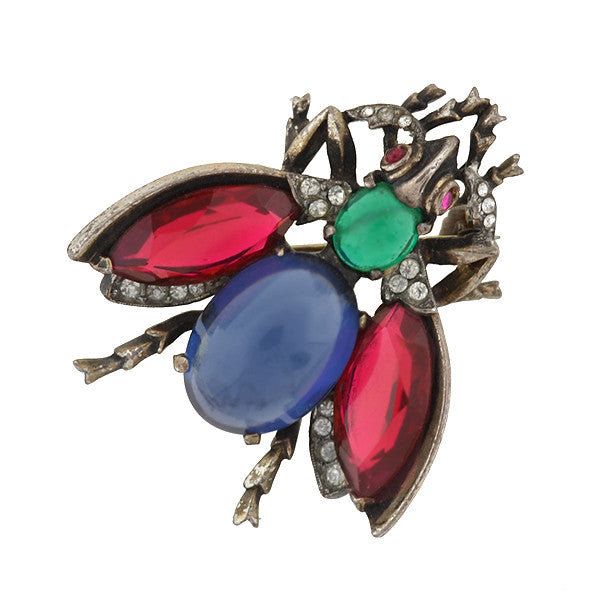 TRIFARI Retro Sterling & Jeweled Jelly Belly Bug Pin