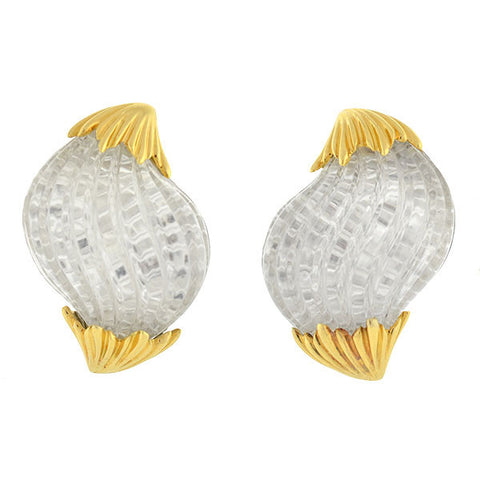TURI Estate 18kt Rock Quartz Crystal Shell Clip Earrings