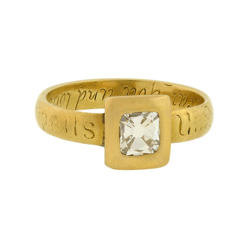 Georgian 18kt Inscribed Tablet Cut Diamond Ring 0.68ct