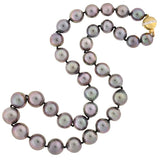 Estate Tahitian Pearl Necklace w/ Diamond Clasp 10-13mm