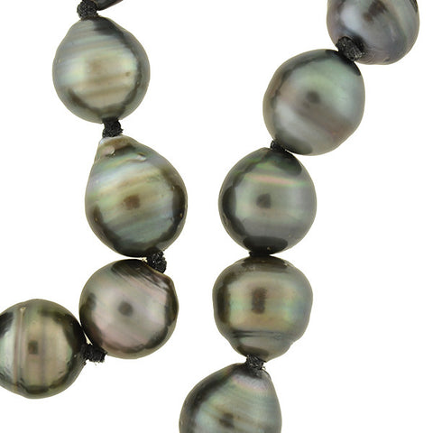 Estate Tahitian Black Pearl Necklace with Pavé Diamond Clasp