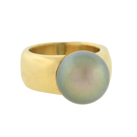 Estate 18kt Gold Wide Band Ring with 12mm Tahitian Pearl