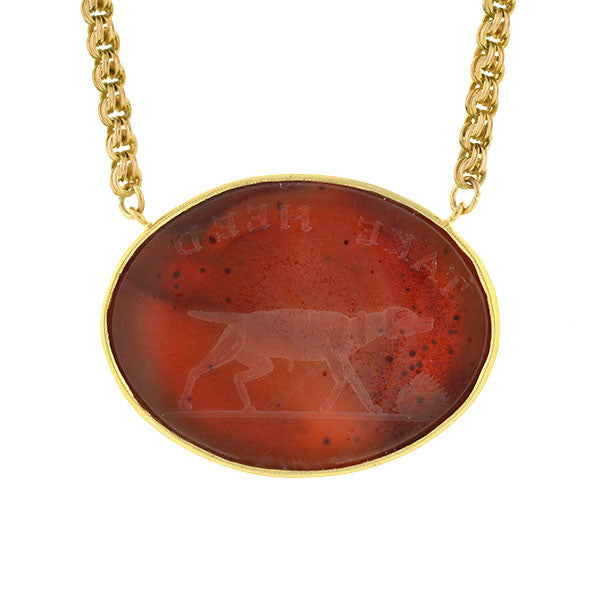 "Victorian 18kt Carnelian Intaglio ""Take Heed"" Dog Necklace"
