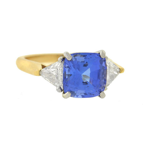 Estate 14kt Sapphire & Diamond 3-Stone Ring 0.90ct center
