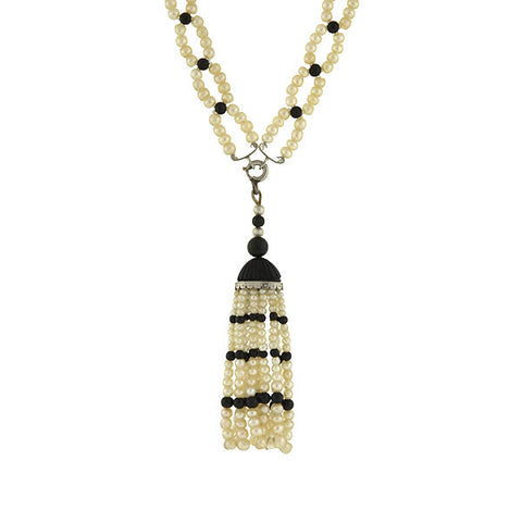 Art Deco Platinum, Natural Pearl & Enamel Bead Necklace w/ Tassel