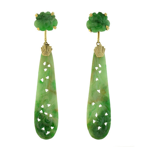 Art Deco 14kt Hand Carved Jade Earrings