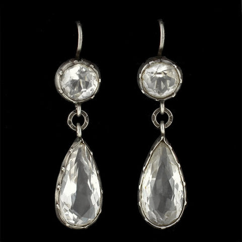 Victorian Sterling & Rock Quartz Crystal Teardrop Earrings