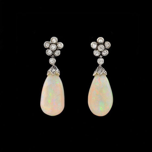 Edwardian 18kt Diamond Opal Drop Earrings