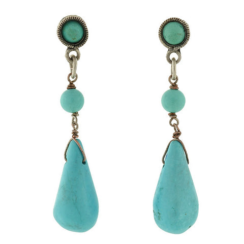 Estate Chinese Silver & Turquoise Teardrop Earrings