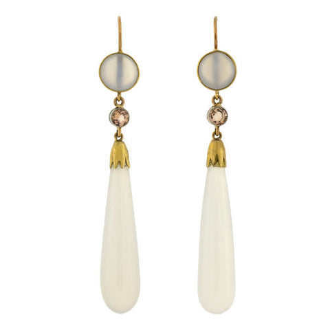 Victorian 14kt Chalcedony Zircon Teardrop Earrings