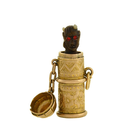 "Victorian 14kt Hidden Pop-Up Devil ""Temperance"" Capsule Charm"